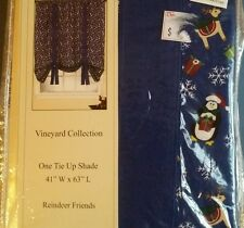 "New REINDEER FRIENDS CHRISTMAS Tie Up Shade Curtain 41 by 63"" by Cameo"