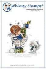 """Stempel """"Christmas Friends"""" Whimsy Stamps, Mädchen und Hase mit Geschenken"""