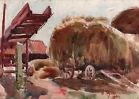 HUNTER BARKER Impressionist Watercolour Painting HARVEST HAY WAGON 1943