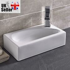 Modern Square Small RightHand Cloakroom Wall Hung Counter top Corner Basin Sink