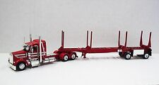 """Kenworth W900l 38"""" Sleeper red/silver with 48'  2 axle red Log Bunk"""