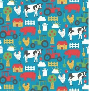 Polycotton Fabric Craft BOYS BLUE FARMYARD TRACTOR Metre Material Special Offer
