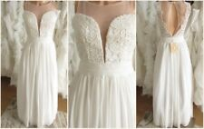 Chiffon lace mesh wedding dress UK 6