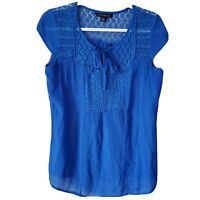 Zac & Rachel Women's Blue Crochet Detail Boho Blouse Size Small