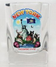 NEW YORK STATE MONTAGE SQUARE SHOT GLASS SHOTGLASS
