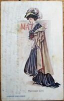 Artist-Signed 1908 Postcard: Woman at Theatre - 'Matinee Girl'