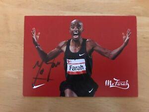 Mo Farah signed promotional card