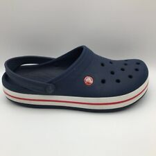 Crocs Mens 9 Womens 11 Unisex Clogs Blue White Red Slingback Perforated Slip-On