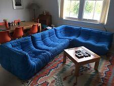 Ligne Roset Togo Set 2x2,1 un angolo 2 X, NUOVO blu in microfibra/camoscio!
