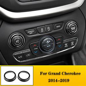For 2014 - 2019 Grand Cherokee Black Alloy Volume Radio Switch Knob Covers 2pcs
