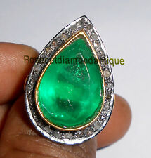 NEWELY HAND-MADE 0.54ct ANTIQUE ROSE CUT DIAMOND SILVER 925 VINTAGE EMERALD RING