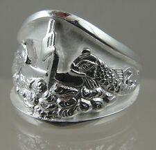 US Navy Licensed Submarine dolphin Guppy mens .925 sterling ring size 13