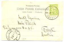 PALESTINE ISRAEL P.O. OTTOMAN 1904 PPC PM =JAFFA 2= TO TRIEST AUSTRIA  VF