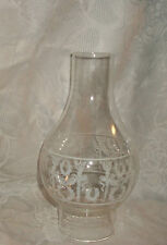 Vintage Lamp Shade Chimney Torch & Wreath Design Clear White Paint