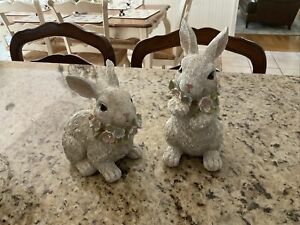 Set 2 BABY BUNNY FIGURES w/JEWELED GARLANDS Valerie Parr Hill QVC Bunnies
