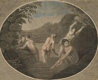 Jungfrauen im Bade, 18. Jh., kolorierte Punktiermanier