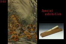Japan antique Tiger marked kakejiku hanging scroll yoroi samurai temple Meiji 虎