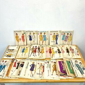 Vintage Sewing Pattern Lot 27 Mod Dresses 1960s all Bust 32 32.5 Complete PT2