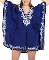 LA LEELA Women's Mini Caftan Swimsuit Coverup for Swimwear US 16-32W Blue_I166