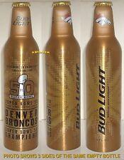 DENVER BRONCOS 2016 SUPER BOWL NFL FOOTBALL BUD LIGHT ALUMINUM BEER BOTTLE-CAN
