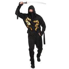 Mens Golden Dragon Ninja Warrior Assassin Samurai Halloween Fancy Dress Costume