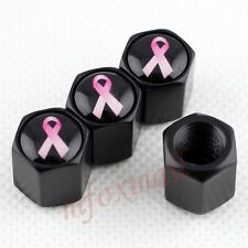 4pcs Auto Accessoreis Wheel Tire Tyre Valve Cap Cover Breast Cancer Pink Ribbon