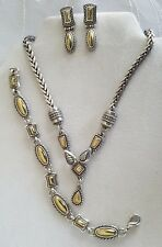 Brighton Dawson silver gold necklace bracelet earrings set lot with tin B102