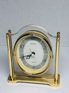 Seiko Quartz Mantel Clock with Lucite and Gold Floating Face - QQZ362F