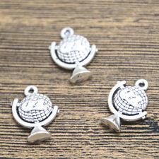 12pcs globe Charms silver tone 2 sided globe charm pendant 21X16mm