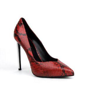 Saint Laurent Women Red Python Effect Leather Platform Pumps 39.5 449440 6457