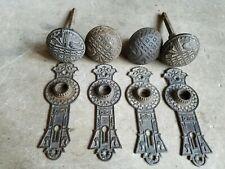 New listing 2 Antique Ornate Cast Iron Door Knobs & Door Plates Eastlake Matching Design