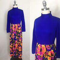 Vintage 70s Tropical Floral Maxi Dress Size Medium