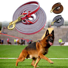 Dog Lead Leather Black Brown Soft Strong Police Training Leash for Large Dogs