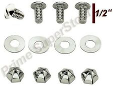 Metal License Plate Tag Frame Fasteners/Screws Cap Bolts Chrome 4 Auto/Car/Truck