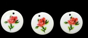 Floral Pendant Round Rose Pink White Charm 16 mm Crafts Jewelry Making Vintage