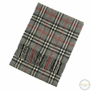 Burberry London Black Grey 100% Cashmere Flannel Checked Plaid Tassel End Scarf