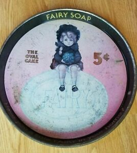 """Round Metal Tray FAIRY SOAP Advertisement """"THE OVAL CAKE"""""""