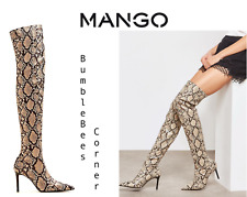 a2defe3eb644 MANGO Over the Knee SNAKE EFFECT High-Leg Boots Animal Print SNAKESKIN  Shoes NIB