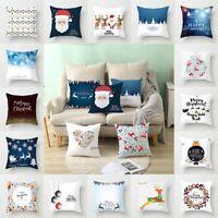 Cartoon Christmas Pattern Pillowcase Polyester Home Cushion Pillow Cover Case