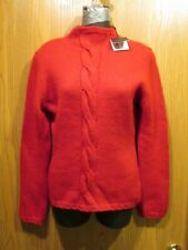 Burberry Red Cashmere / Wool Blend Mock Turtleneck Sweater Size S NEW $375