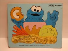 "SESAME STREET 1973 COOKIE MONSTER ""C"" WOODEN PIECE FRAME TRAY PUZZLE PLAYSKOOL"