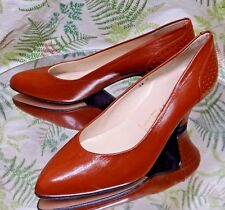 CASTANER BROWN LEATHER LOAFERS SLIP ONS DRESS HEELS WORK SHOES WOMENS SZ 5.5