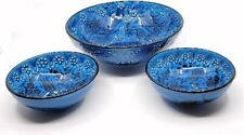 Handmade Turkish Ceramic Pottery Set of 3 Serving Bowls (Blue)