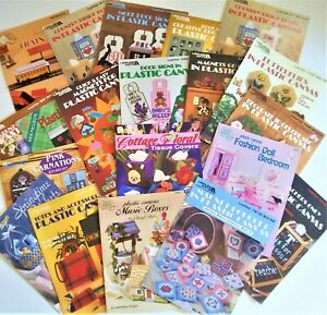 Lot 20 PLASTIC CANVAS patterns books Leisure Arts totes magnets tissue covers