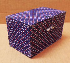 """CHINESE SILK COVERED FOLD-OPEN BOX 2-1/2"""" x 2-1/2"""" x 4-1/4"""""""