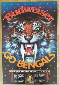 Cincinnati BENGALS Football 1984 Schedule Budweiser NFL Heavy Cardboard Poster