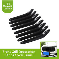 Carbon Fiber Look Front Central Grill Grille Strips Trim For Maserati Levante