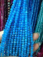 AAA+++ 4mm Faceted Natural Blue Aquamarine Round Jade Gemstone Loose Beads 15''