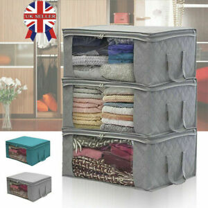 3PCS Clothes Storage Bags Ziped Organizer Underbed Wardrobe Cube Closet Boxes