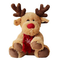 Stuffed Animal Deer with Antlers Red Scarf Christmas Plush Toys Decorative Gifts